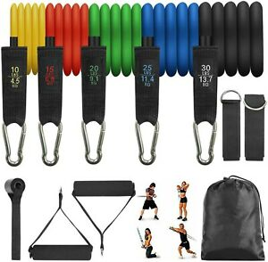11 PCS Resistance Bands Handle Yoga Pilates Abs Exercise Fitness Tube Workout