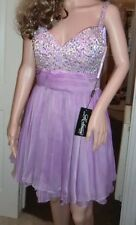 BNWT Ladies La Femme Lavender Purple Jewel Floaty Mini Dress - Size UK 10, USA 6