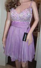 BNWT Donna La Femme Lavanda Viola Gioiello Svolazzante Mini Dress-Taglia UK 10, USA 6