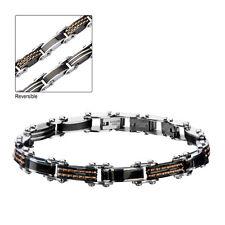 Men'S Stainless Steel Black Ip And Rose Gold Ip Reversible Bracelet Inox Jewelry