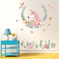 DIY Unicorn Flower Removable Vinyl Decal Wall Sticker Art Mural Room Decor New