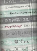 Words to Live By Gray Green Stripe Benartex fabric