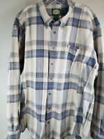 CABELA'S Plaid  Long Sleeve Heavy 100% Cotton Shirt 2XL XXL Tall