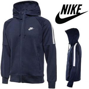 New Nike Mens Tracksuit Top Full Zip Hoodie Polyester Navy Hoody Jacket