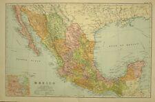 1912 LARGE ANTIQUE MAP MEXICO LOWER CALIFORNIA SONORA CHIHUAHUA OAXACA YUCATAN