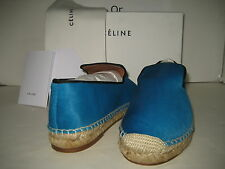 $950 NEW CELINE US 10 EU 40 Turquoise Pony Hair Espadrille Loafer Slip-On Shoes