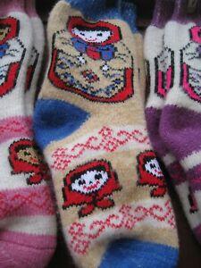SOCKS WOMEN's Matreshka natural sheep WOOL yarn Russian craft thick warm soft