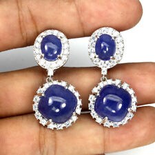 Unheated Round Blue Tanzanite 12mm Natural Cz 925 Sterling Silver Earrings