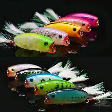 10pcs Lot Popper Fishing Lures Bass Crankbait Bait Poper Feather Hooks 5.5cm/10g