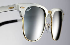 Ray-Ban ALUMINIUM CLUBMASTER Brushed Silver Gold Sunglasses RB 3507 137/40 51 MM