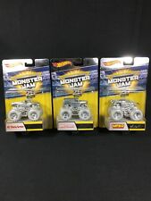 HOT WHEELS MONSTER JAM 25TH ANNIVERSARY SILVER EDITION LOT OF (3)