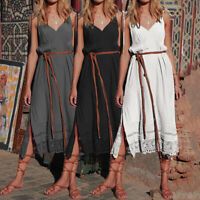 Women Summer Sleeveless Strap A Line Dress Kaftan Beach Party Long Slip Dress