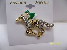 Gorgeous GREEN jockey horse racing, equestrian, crystal rhinestone pin brooch #5