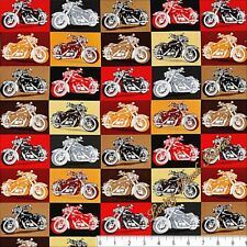 QUILTING TREASURES BIKER FOR LIFE 26017X MOTORCYCLE PATCH FABRIC PRICED @ 1/2 YD