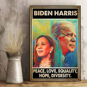 Biden Harris President Peace Love Equality Hope Diversity Poster/ Wrapped Canvas