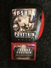 Hand Signed Anthony Joshua V Povetkin Official Fight Poster Boxing Glove COA