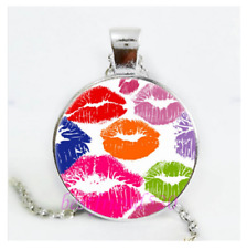 necklace Valentine female Free $10 Gift Silver Rainbow Lip Kiss crystal pendant