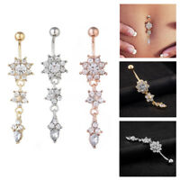 Fashion Crystal Flower Dangle Navel Belly Button Ring Body Piercing Jewelry
