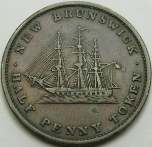 NEW BRUNSWICK (Canadian Provinces) 1/2 Penny 1843 - Copper - VF - 1046 ¤