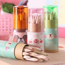 12pcs Cartoon Mini Colored Pencil with Pencil Sharpener Painting Pencils Cute