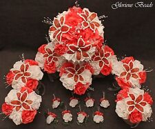 Wedding Bridal Bouquet Coral Tangerine 16 PC Package BEADED Flower Quinceanera
