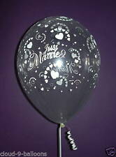 Qualatex 11'' (28cm) Clear Just Married Hearts Printed Latex Balloons