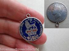 Antiguo De Colección Reloj De Esmalte chelín plata 1826 georgiano FOB encanto colgante antiguo