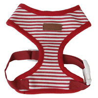 Dog puppy red striped Mesh adjustable Dish clothes pet harness size XS C9X2