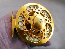 CUSTOM 9/10 WT GOLD ANODIZED CNC 6061-T6   FLY REEL WITH WF-9-F LINE W/ LOOP