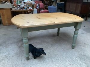 Solid Pine Kitchen Dining Table Green Painted Detachable Legs
