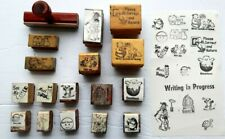 Vintage School Teachers rubber Stamps Wood handles Read Correct Work in Progress
