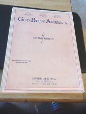 Vtg Sheet Music: God Bless America, Irving Berlin,  Low voice 1939