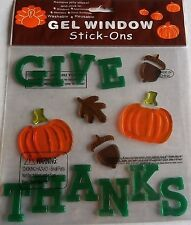 THANKSGIVING Window Gel  GIVE THANKS   W/PUMPKINS & ACORNS