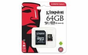 Original Kingston Canvas Select (64GB) MicroSD Card Class 10 UHS-1 U1 & Adapter
