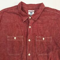 Old Navy Button Up Shirt Mens XXL Red Slim Fit Short Sleeve Casual Cotton Linen