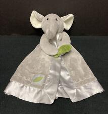 Baby Aspen Safari Grey Elephant Leaf Satin Lovey Security Blanket Lovey Rattle