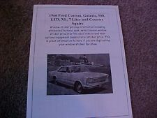 1966 Ford full-size factory cost/dealer sticker prices for car & options $$