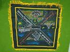 "Vintage Panama Night life Black Tapestry Velvety Wall Hanging 17""x17"" W/ Fringe"