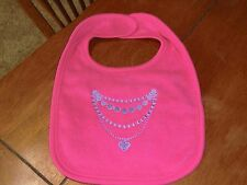 Embroidered Baby Bib - Necklace - Bright Pink Bib
