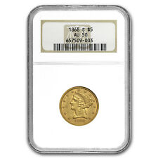 1868-S $5 Liberty Gold Half Eagle AU-50 NGC