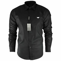 Men's Armani Plain Black Shirt Long Sleeve Size S M L XL XXL