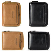 Men's Leather Bifold Credit ID Card Holder Wallet with Zipper Coin Pocket Purse