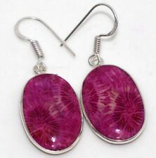 """Earrings 1.5"""" Jewelry Gift Gw Fossil Coral 925 Sterling Silver Plated"""