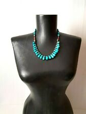 Vintage Turquoise Teardrop Beads Beads Ethnic Necklace