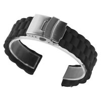 Black 20/22mm Rubber Silicone Band Strap Watch Bracelet Outdoors Sport Bangle