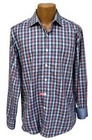 BUGATCHI UOMO Shaped Fit Flip Cuff Red Blue Plaid Cotton Button Shirt Men Medium