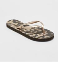 Xhilaration Women's Letty Flip Flop Slip-On Sandals, Leopard Print