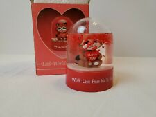 Vintage Valentine's Day Racoon Russ Berrie & Company Snow Globe Dome in box