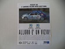 advertising Pubblicità 1997 PEUGEOT 306 CAMPIONE RALLY
