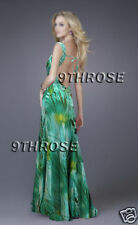 STEAL THE SHOW! GREEN BEADED FORMAL/PROM/EVENING/BALL LONG PRINTS DRESS AU12US10